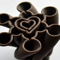 3D Chocolate Print - Spiralling Heart Clover, Side