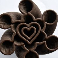 3D Chocolate Print - Spiralling Heart Clover, Top