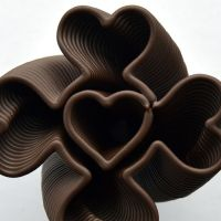3D Chocolate Print - Simple Spiralling Heart Clover, Top