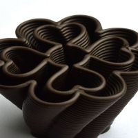 3D Chocolate Print - Four Leaf Heart Clover Side