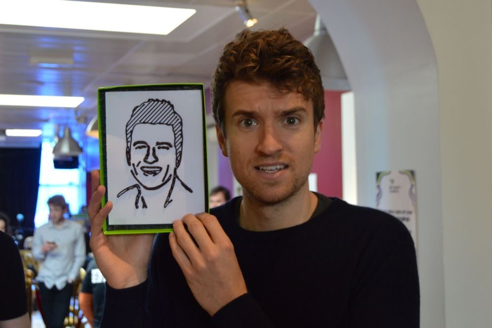 Greg James with his 2D chocolate portrait